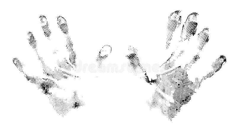 Imprints do sumário de Grunge das mãos ilustração do vetor