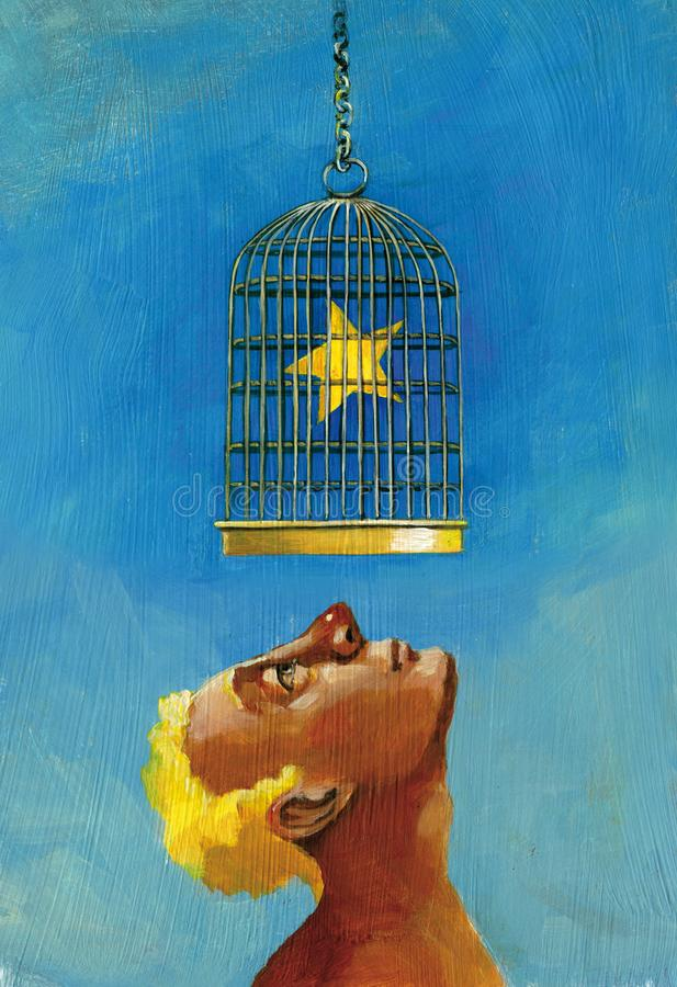 Imprisoned desire surreal artwork. Profile man looks up a star inside a cage allegory of unreachable desire surreal acrylic illustration allegory of desire of stock illustration