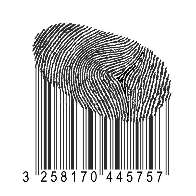 Impronta digitale con il codice a barre royalty illustrazione gratis