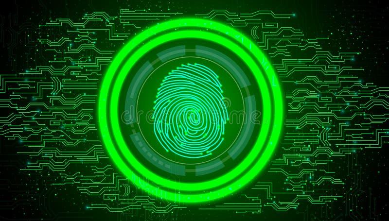 Impronta digitale con il fondo di tecnologia dell'estratto di verde di concetto royalty illustrazione gratis