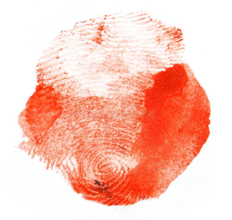 Impronta digitale rossa Macro immagine stock