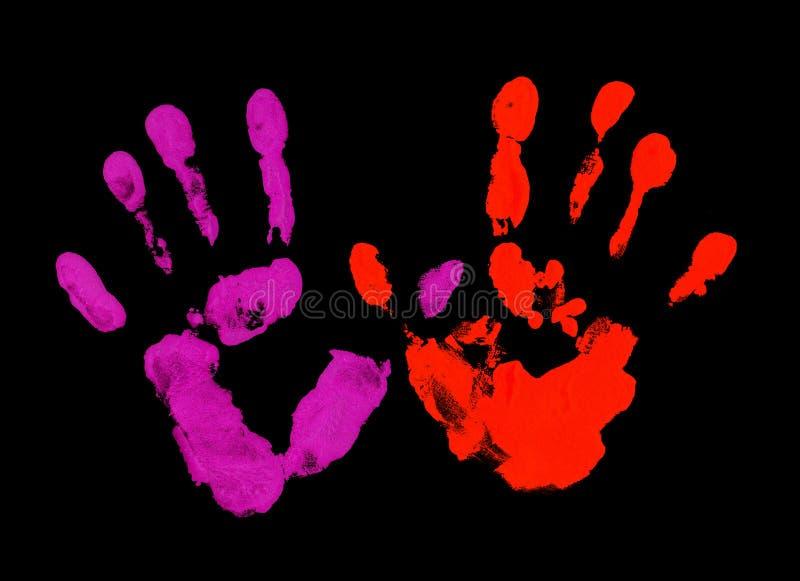 Impronta digitale viola e rossa fotografia stock libera da diritti