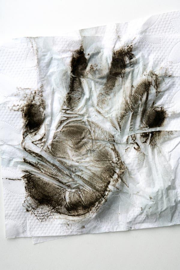 Impronta Sporca Su Bianco fotografie stock libere da diritti