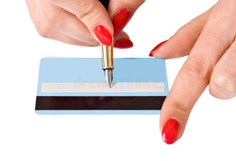 Impronta sulla scheda di pagamento immagini stock