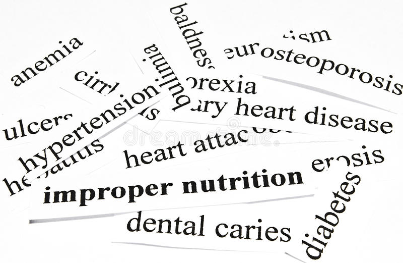 Improper nutrition. Health care concept of diseases caused by unhealthy nutrition. Health care concept of diseases caused by unhealthy diet stock photos