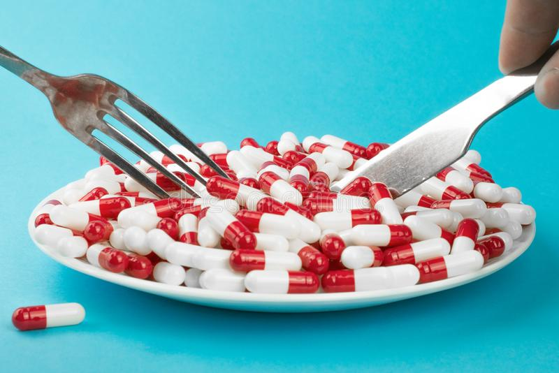 Improper nutrition, prescription weight loss drugs royalty free stock image
