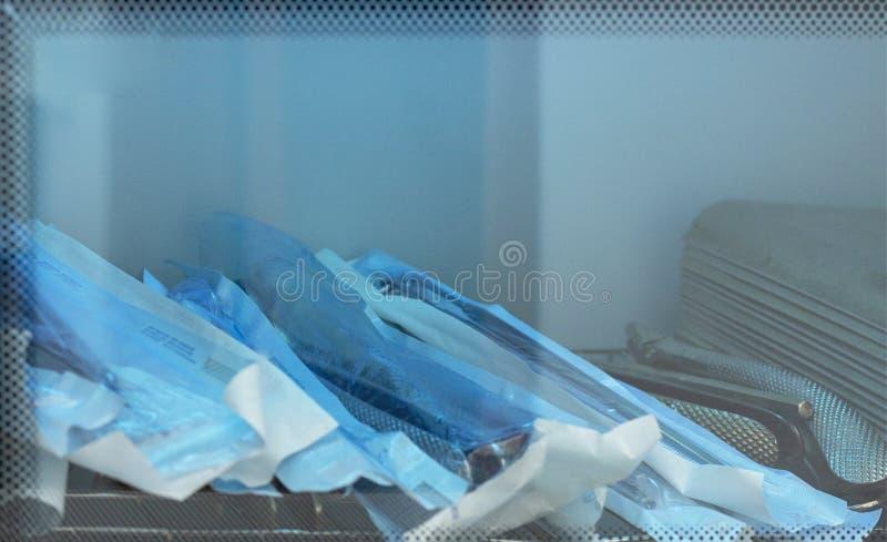Improper storage in sterilizer. medical dental supplies tools. Improper storage in the sterilizer. medical dental supplies tools stock photography