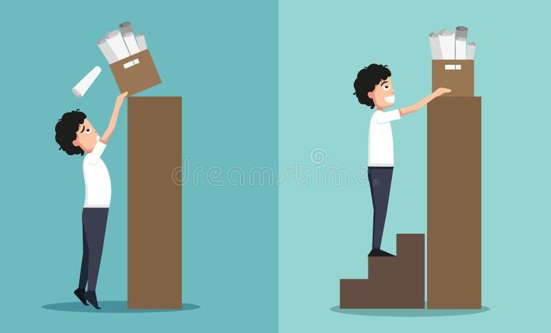 Improper versus against proper lifting stock illustration