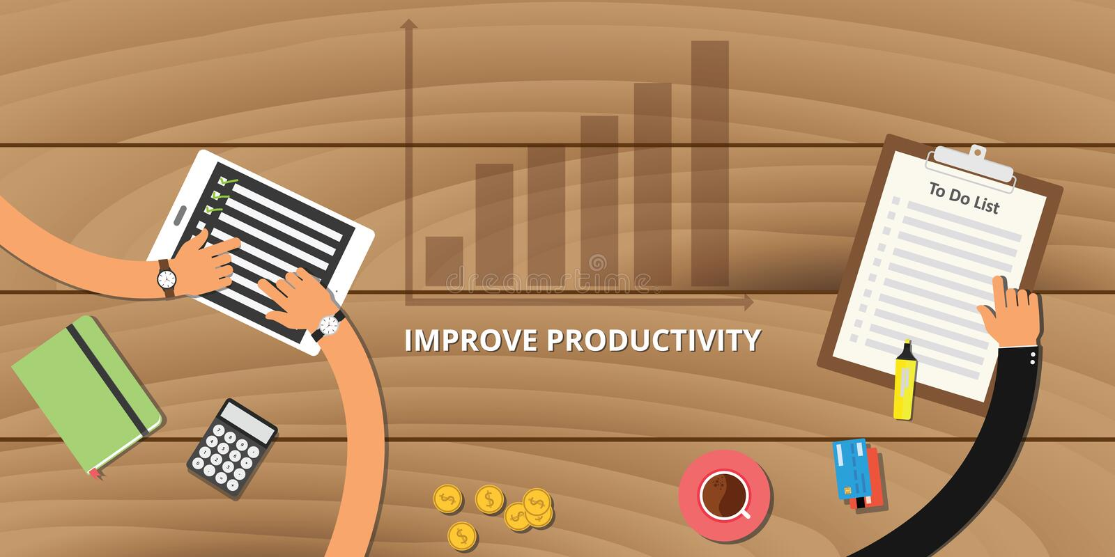 Improve productivity concept. With increase growth graph vector illustration