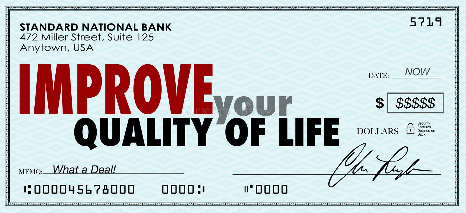 Improve Your Quality of Life Money Check Spend Enjoy Income. Improve Your Quality of Life words on a check as increased income to help you enjoy luxury and vector illustration