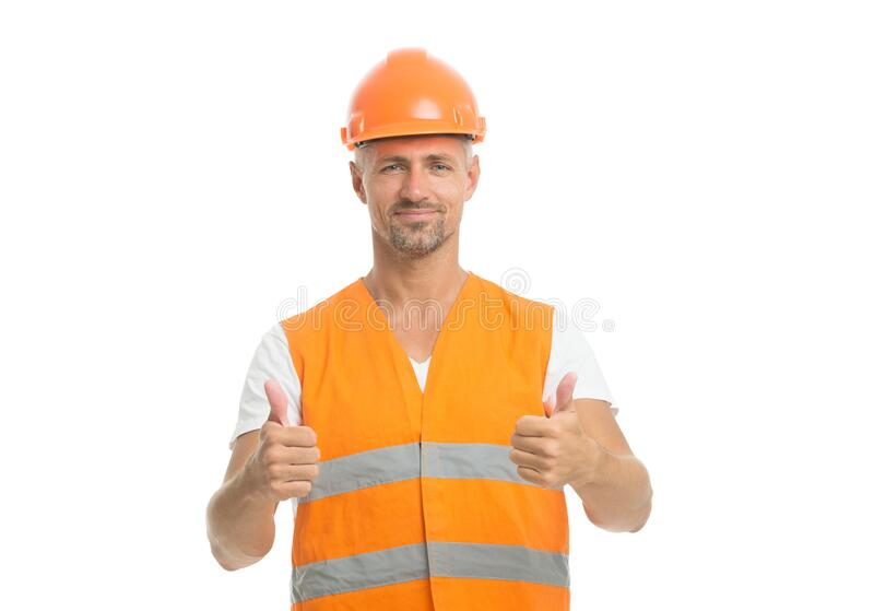 Improvement. Ambitious project. Successful engineer. Handsome builder. Man protective helmet uniform white background. Worker builder confident and successful royalty free stock images