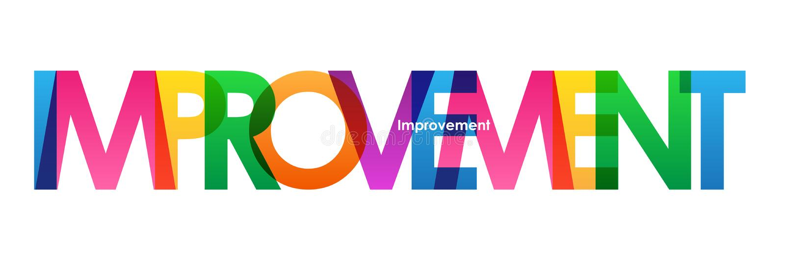 IMPROVEMENT colorful overlapping letters banner. Vector. Rainbow palette royalty free illustration