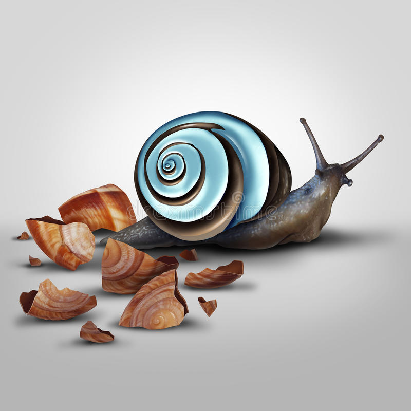 Improvement Concept. As a snail Shedding old shell for an upgrade as a modern chrome one as a metaphor for new and improved and adapting and advancing with new stock illustration
