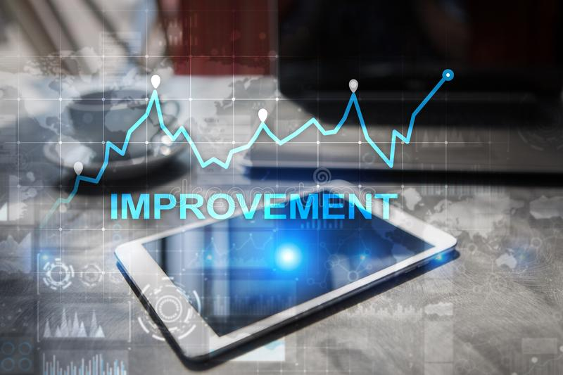Improvement graph on virtual screen. Business and technology concept. stock photo