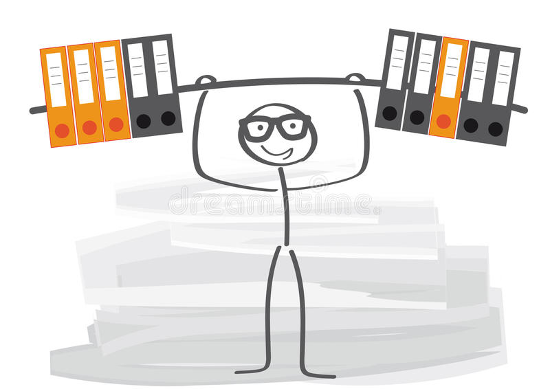 Improving Employee Performance. Employee easily lifting a bar-bell, consisting of files stock illustration