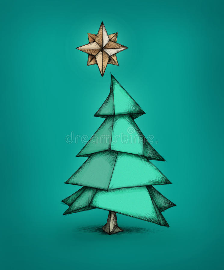 Download Improvised Christmas Tree Made Of Paper Stock Illustration    Image: 59476084