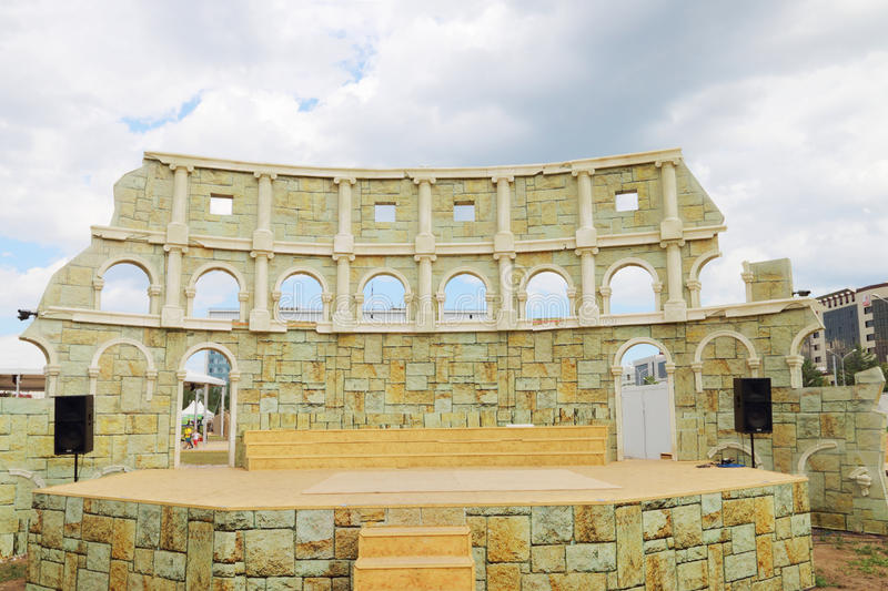 Improvised Colosseum for performing at open air festival White Nights stock photography
