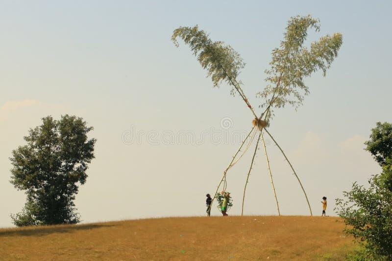 Dashain swing in Nepal stock photo