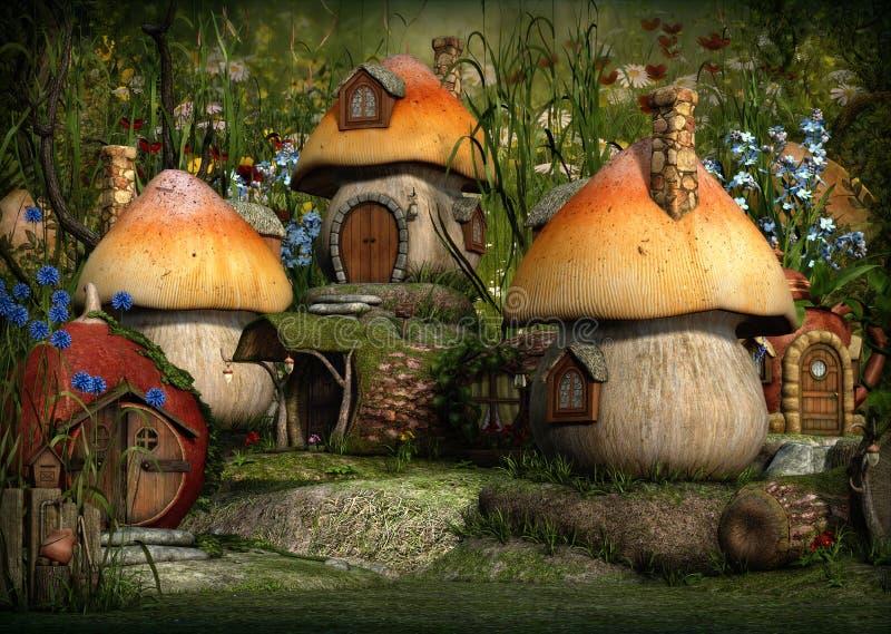 Imps Village, 3d CG. 3d computer graphics of a village with Leprechaun cottages royalty free illustration