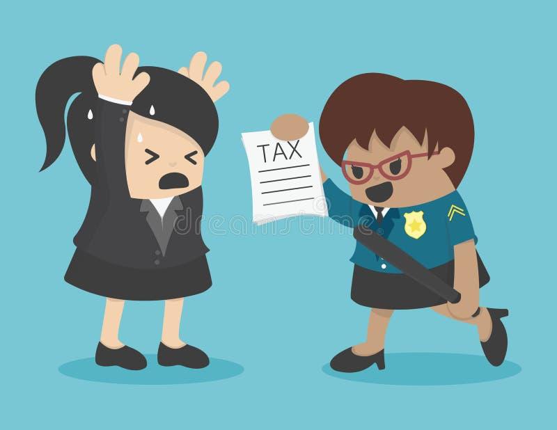 Impuesto de la evasión de la mujer de negocios ilustración del vector