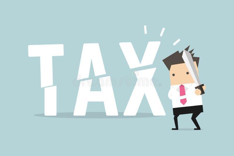 Impuesto del corte del hombre de negocios con la espada Concepto del negocio de reducir y de bajar impuestos ilustración del vector