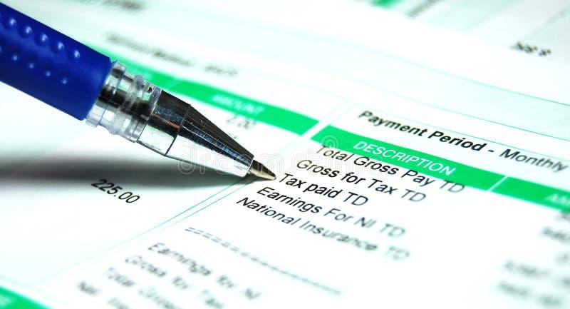 Impuesto del resbalón de paga imagenes de archivo