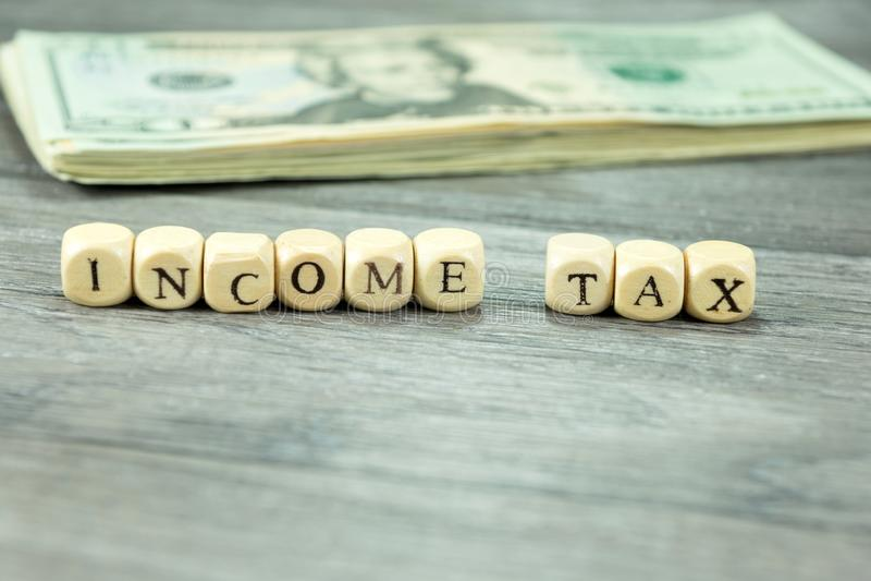 Impuesto sobre la renta en América fotografía de archivo