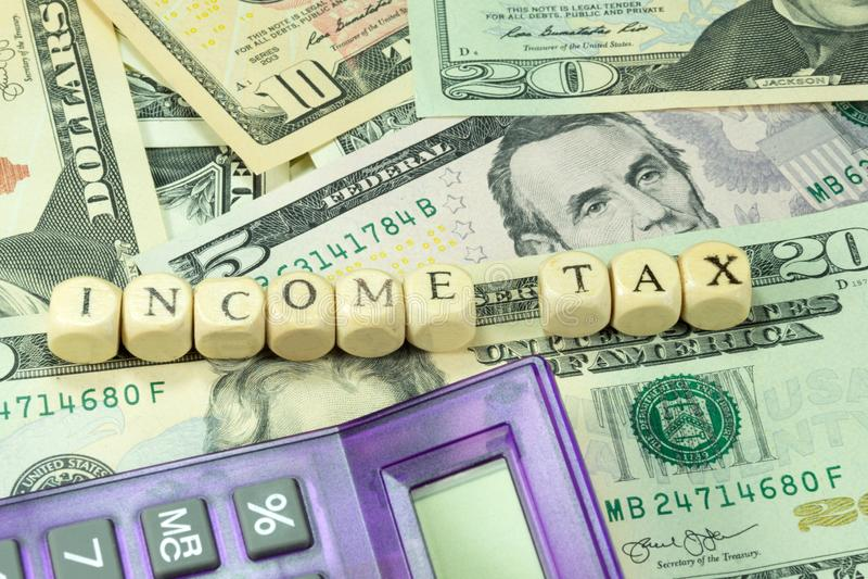 Impuesto sobre la renta en América imágenes de archivo libres de regalías