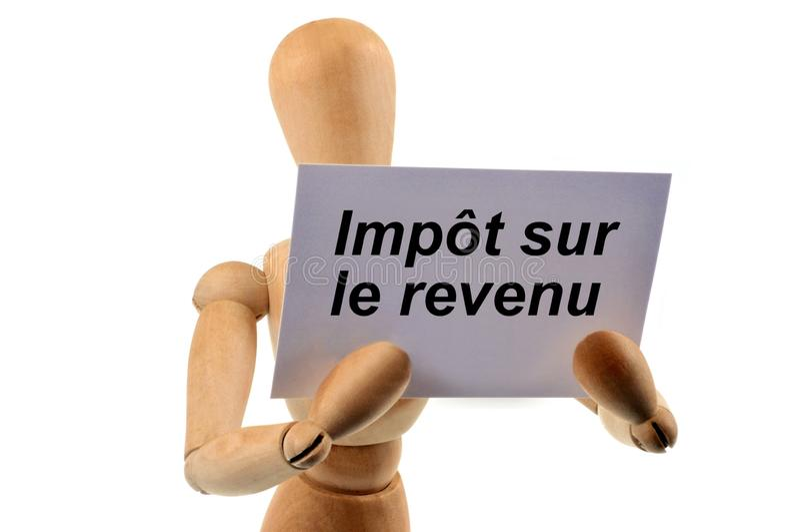 Impuesto sobre la renta escrito en francés imagen de archivo