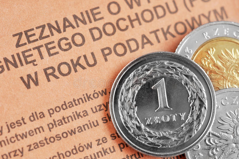Impuesto sobre la renta polaco foto de archivo