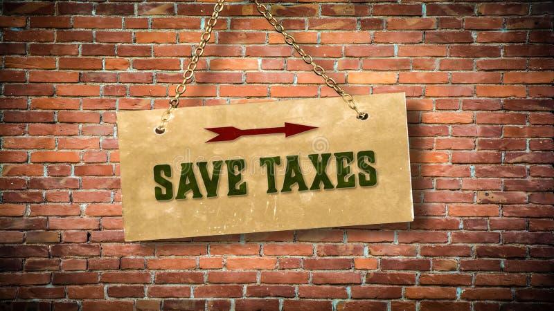 Impuestos de la reserva de la placa de calle stock de ilustración
