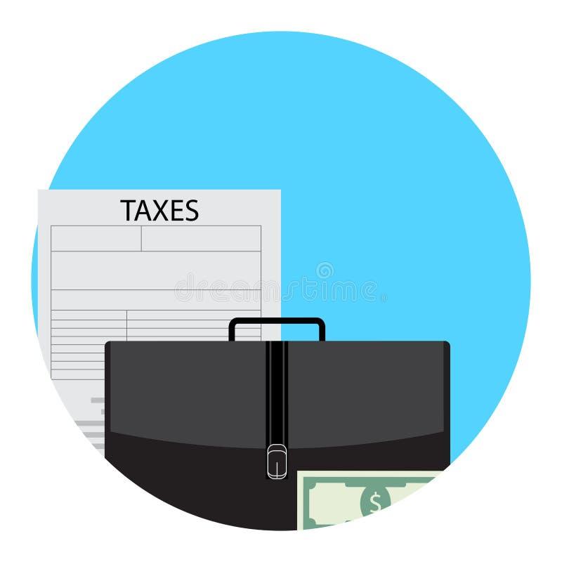 Impuestos en el icono app del negocio ilustración del vector