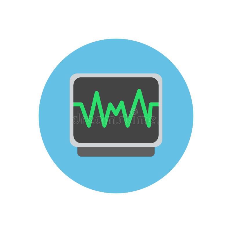Impuls die vlak pictogram controleren Ronde kleurrijke knoop, ECG, elektrocardiogram cirkel vectorteken, embleemillustratie stock illustratie