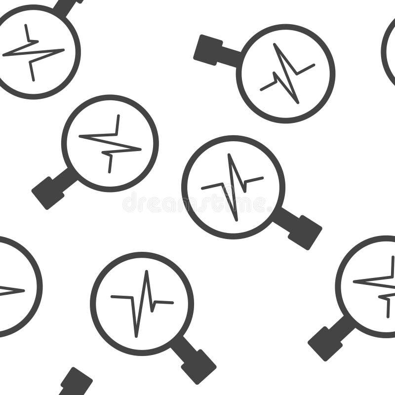 Impuls- und Glasvergr??erungsglasvektorillustration Herzschlagsymbol des nahtlosen Musters der Kardiologie auf einem weißen Hinte lizenzfreie abbildung