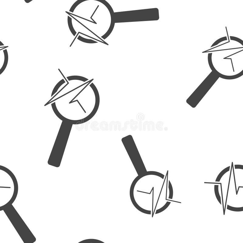 Impuls- und Glasvergr??erungsglasvektorillustration Herzschlagsymbol von Kardiologie Nahtloses Muster des Finanzgeschäftsprognose lizenzfreie abbildung
