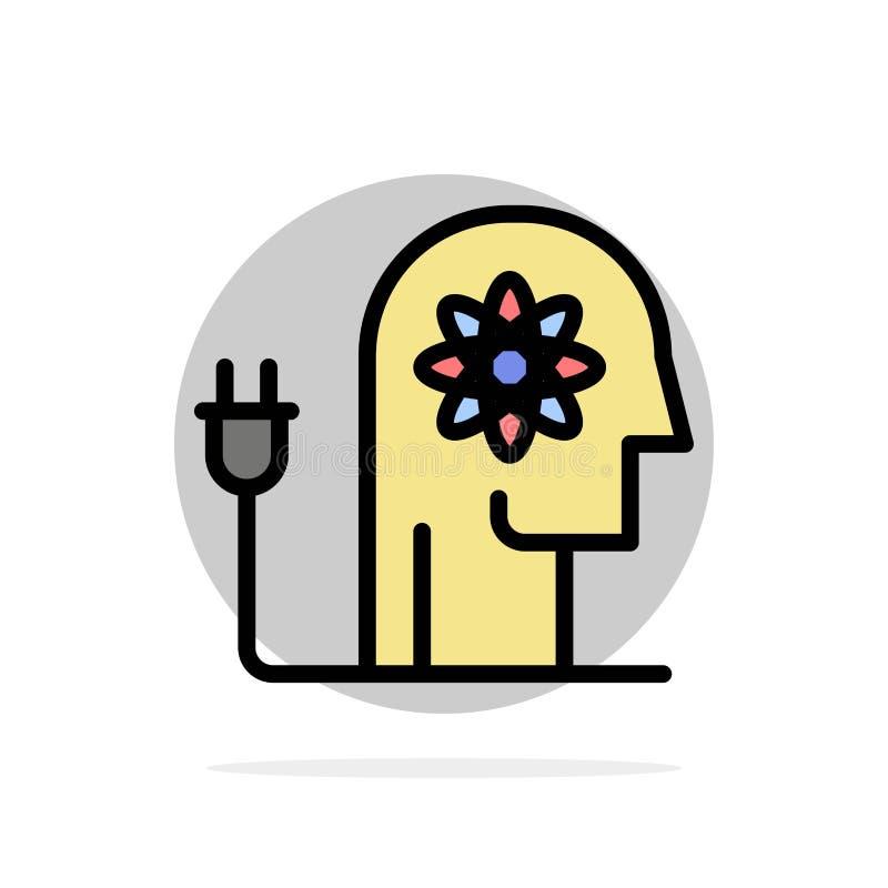 Impulsando, capacidad, impulsando, conocimiento, icono plano del color de fondo del círculo del extracto de la mente stock de ilustración