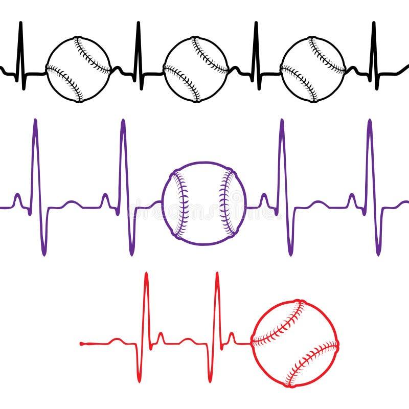 Impulsbaseball stellte verschiedene Farben ein vektor abbildung