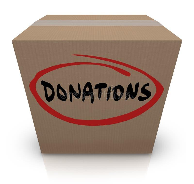 Impulsión de la caridad de la comida de la caja de cartón de las donaciones stock de ilustración