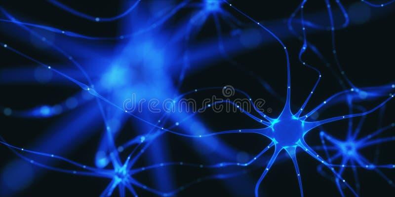 Impulsi elettrici dei neuroni illustrazione vettoriale