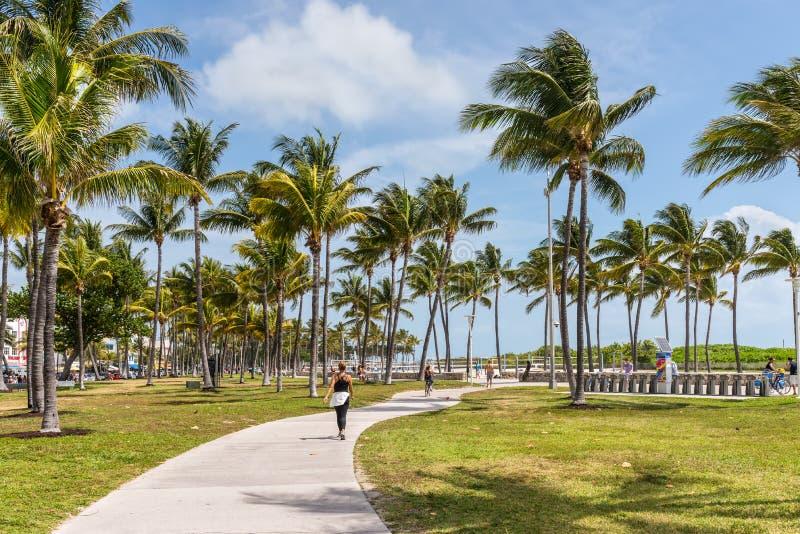 Impulsi?n del parque y del oc?ano de Lummus, Miami Beach, la Florida, los Estados Unidos de Am?rica foto de archivo