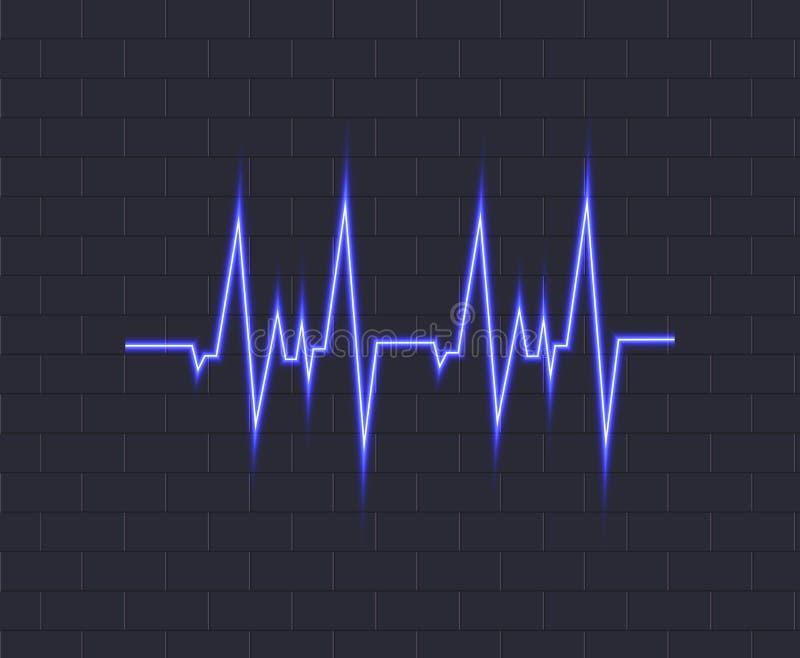 Impulsion bleue au néon de vecteur, icône rougeoyante sur le fond foncé, illustration de battement de coeur illustration stock