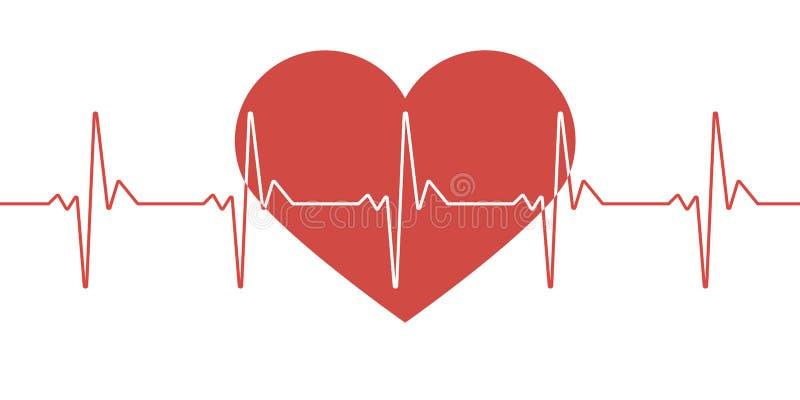 Impulsion de coeur Couleurs rouges et blanches Battement de coeur solitaire, cardiogramme Beaux soins de santé, fond médical Conc illustration libre de droits