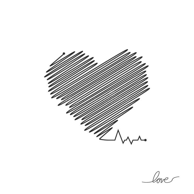 Impulsion de coeur Couleurs rouges et blanches Battement de coeur solitaire, cardiogramme Beaux soins de sant?, fond m?dical Simp illustration libre de droits