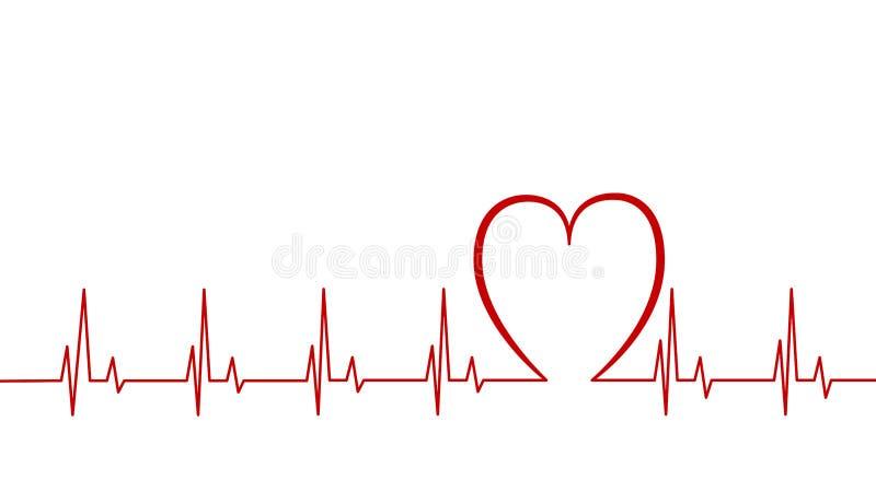 Impulsion de coeur, ligne illustration de cardiogramme de vecteur d'isolement sur le fond blanc, battement de coeur photographie stock libre de droits