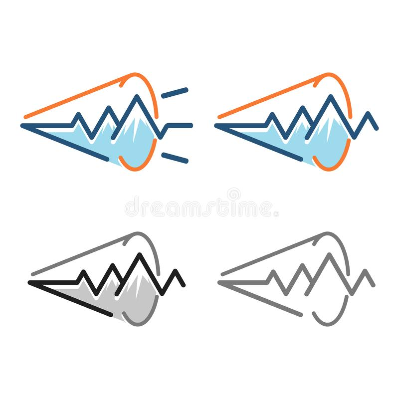 Impulsion Logo Symbol de signal sonore de haut-parleur bruyant de montagne illustration stock