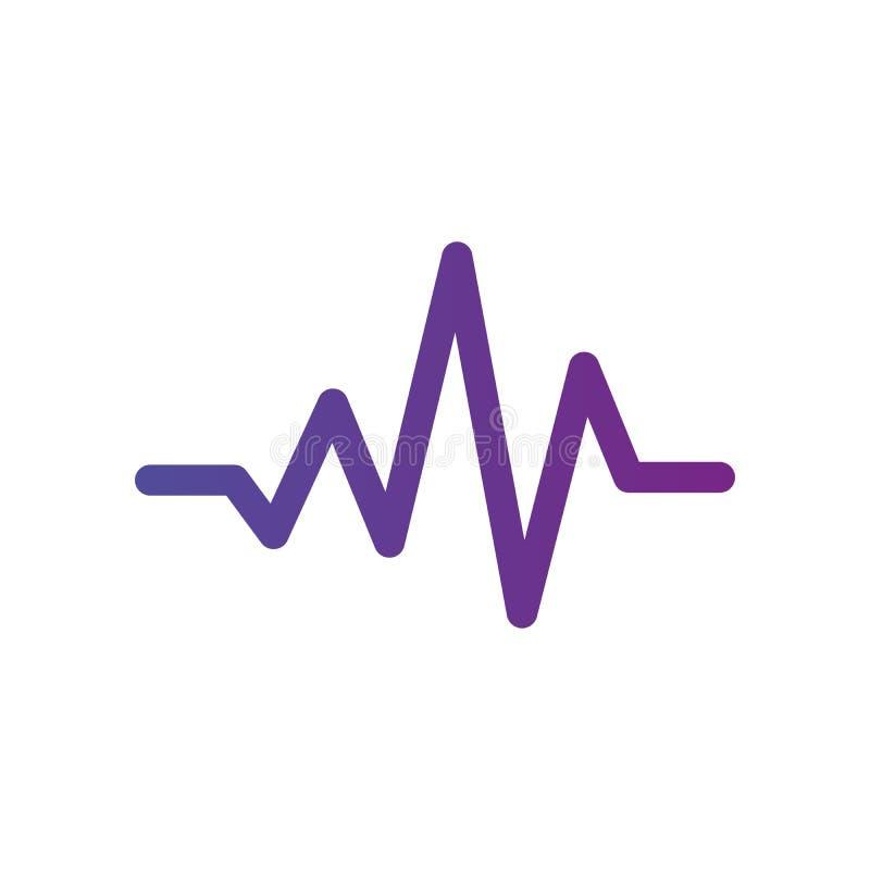 Impulsion ou icône de battement de coeur, signe médical, symbole de Web Illustration de vecteur d'isolement sur le fond blanc Net illustration stock
