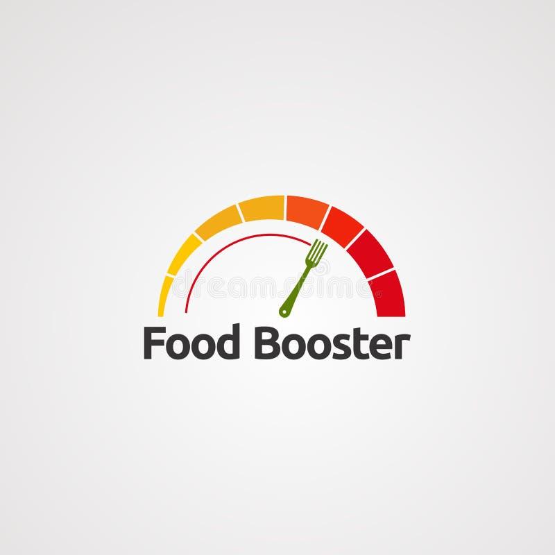 Impulsionador do alimento com vetor, ícone, elemento, e molde do logotipo do conceito do velocímetro para a empresa ilustração do vetor