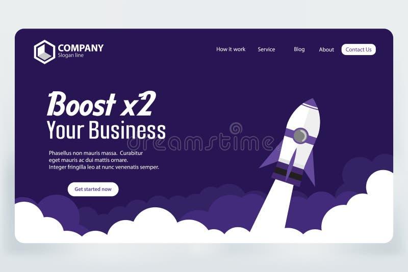 Impulsione o conceito de projeto do molde do vetor da página da aterrissagem do Web site do negócio ilustração royalty free