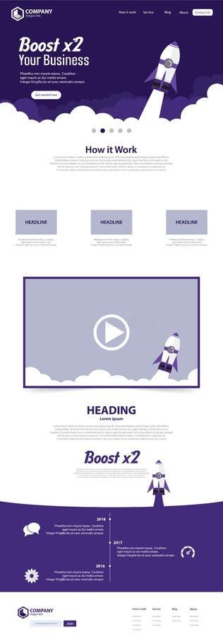 Impulsione o conceito de projeto do molde do vetor da página da aterrissagem do Web site do negócio ilustração do vetor