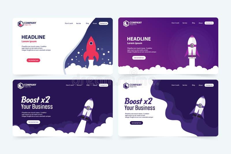 Impulsione o conceito de projeto do molde do vetor da página da aterrissagem do Web site do negócio ilustração stock